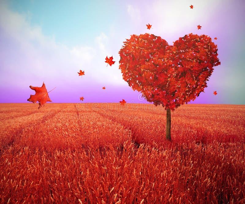 Träd i formen av hjärta, valentindagbakgrund royaltyfri bild