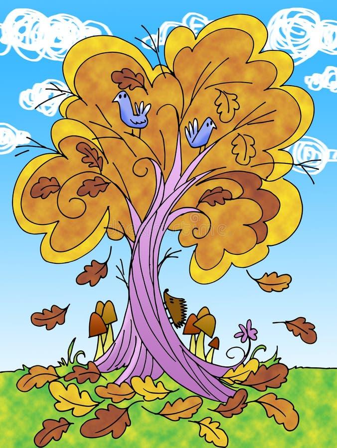 Träd i hösttecknad filmillustration stock illustrationer