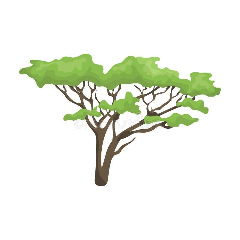 Träd i savannahen Enkel symbol för afrikansk safari i rengöringsduk för illustration för materiel för symbol för tecknad filmstil stock illustrationer