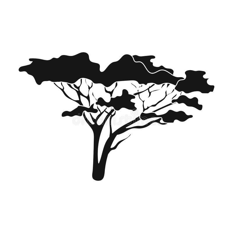 Träd i savannahen Enkel symbol för afrikansk safari i svart rengöringsduk för illustration för materiel för stilvektorsymbol royaltyfri illustrationer