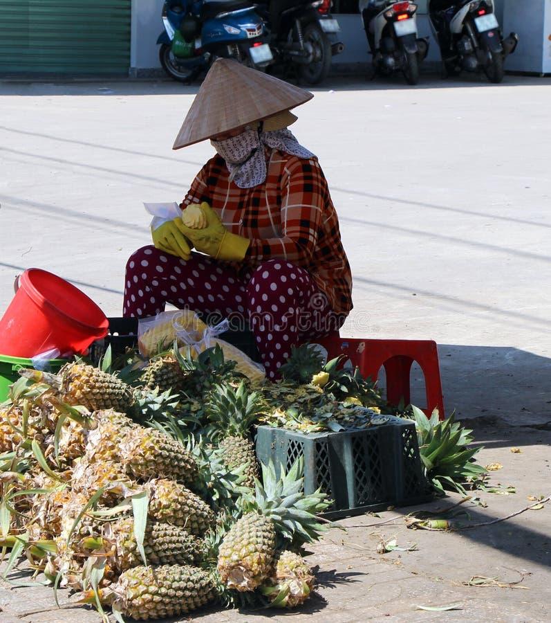 Träd i staden vietnam Gatuförsäljare med lottsedlar fotografering för bildbyråer