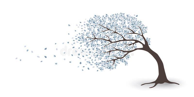 Träd i storm stock illustrationer