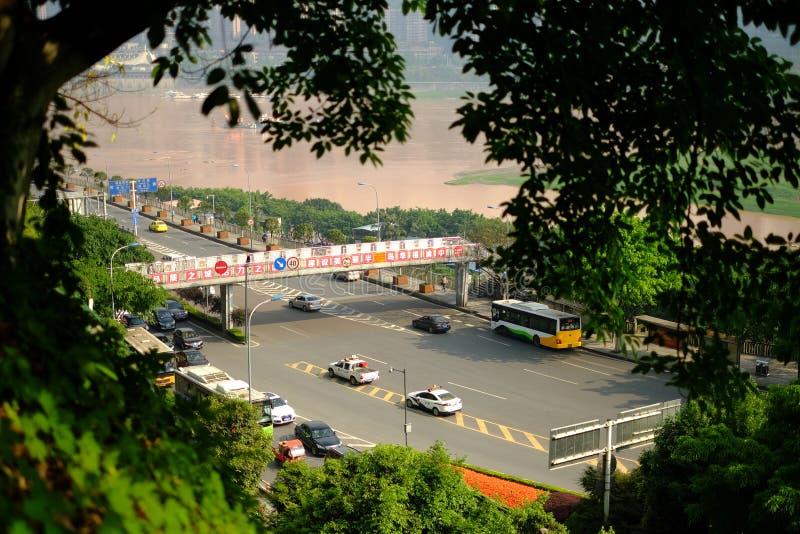 Träd i vår i den Kina Chongqing staden arkivfoton