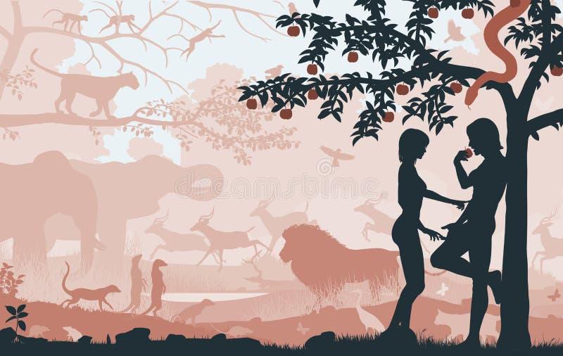 Träd med äpplet royaltyfri illustrationer