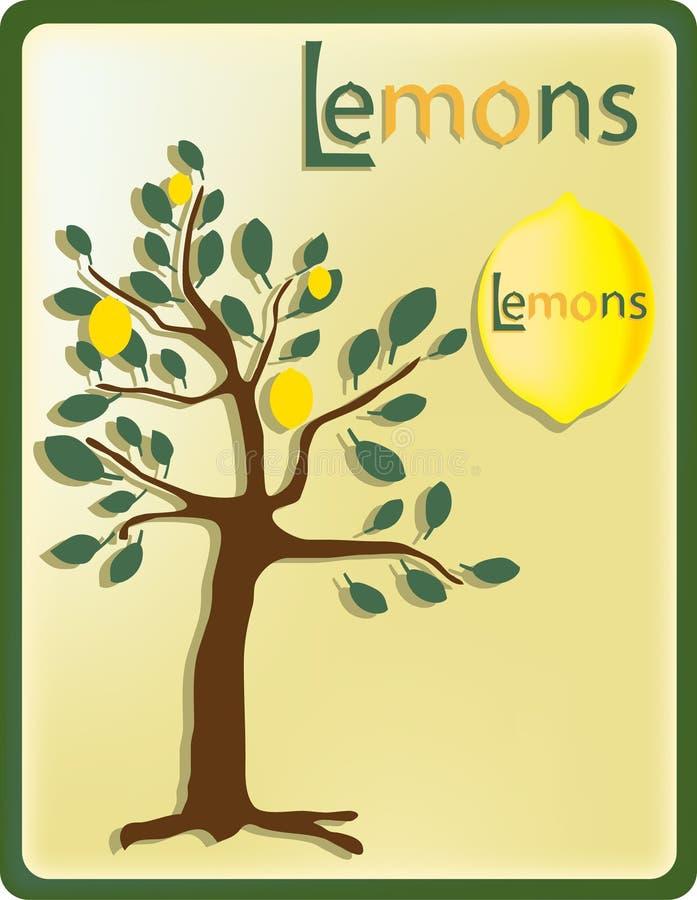 Träd med citroner arkivfoto