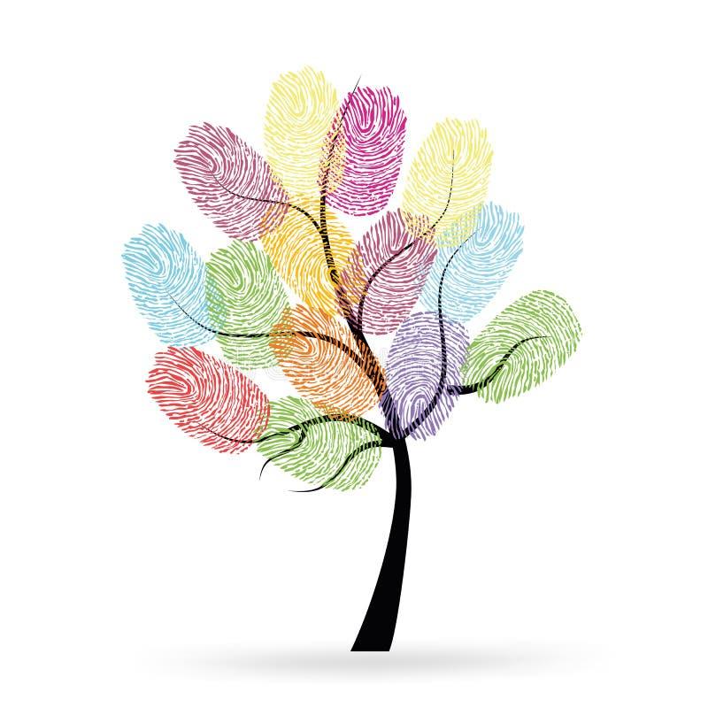 Träd med den färgrika fingeravtryckvektorn royaltyfri illustrationer