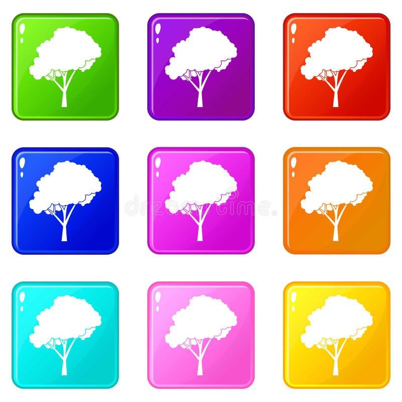 Träd med en rundad kronauppsättning 9 vektor illustrationer