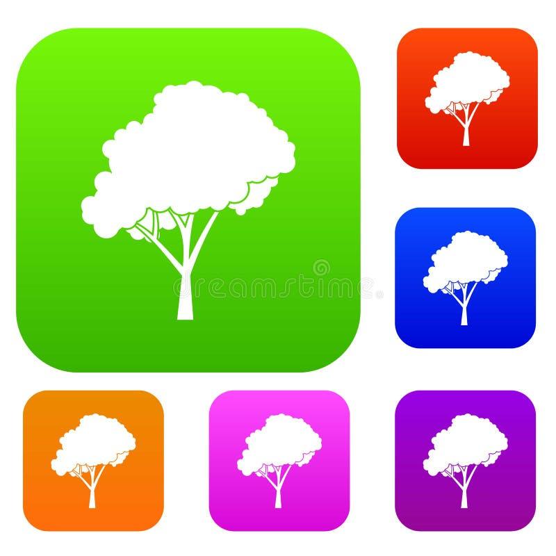Träd med en rundad kronauppsättningsamling stock illustrationer
