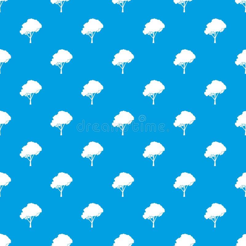 Träd med en sömlös blått för rundad kronamodell royaltyfri illustrationer