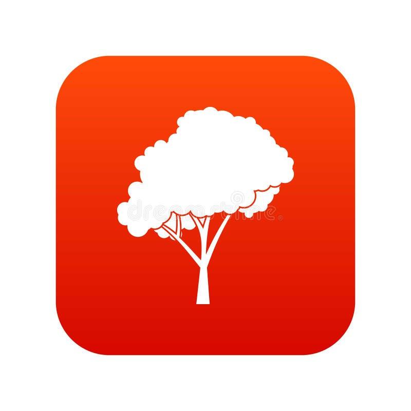 Träd med ett digitalt rött för rundad kronasymbol stock illustrationer
