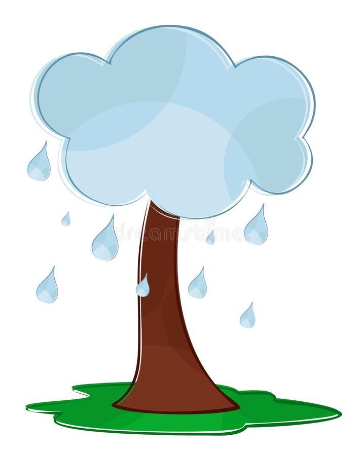 Träd med ett regnigt moln stock illustrationer