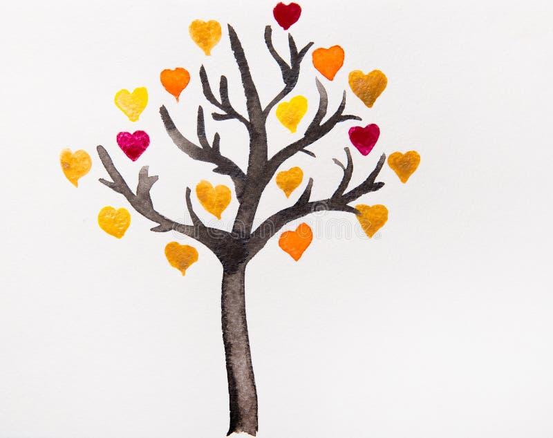 Träd med färgrika hjärtor en vattenfärg stock illustrationer
