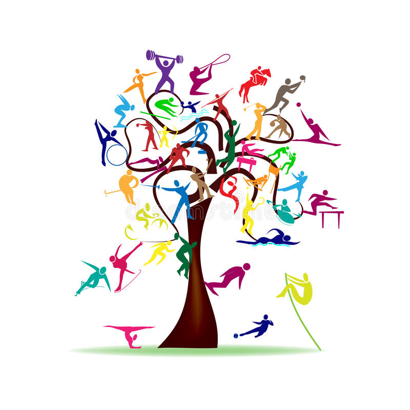 Träd med färgrika sportsymboler vektor illustrationer