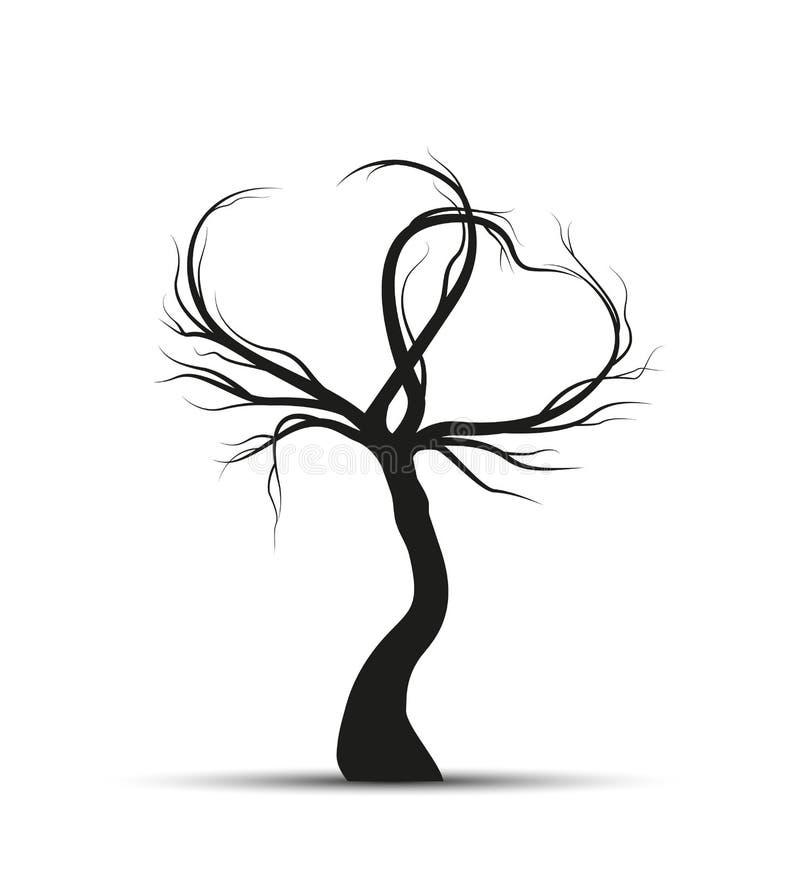 Träd med filialer i hjärtaform stock illustrationer
