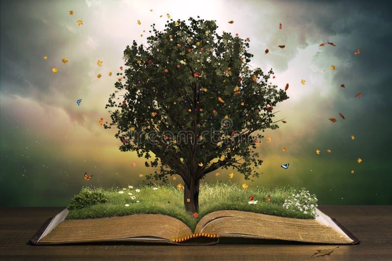 Träd med gräs på en öppen bok royaltyfri illustrationer