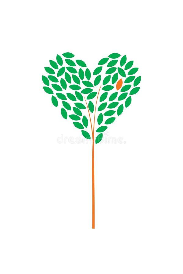 Träd med gräsplansidor, form av hjärta vektor illustrationer
