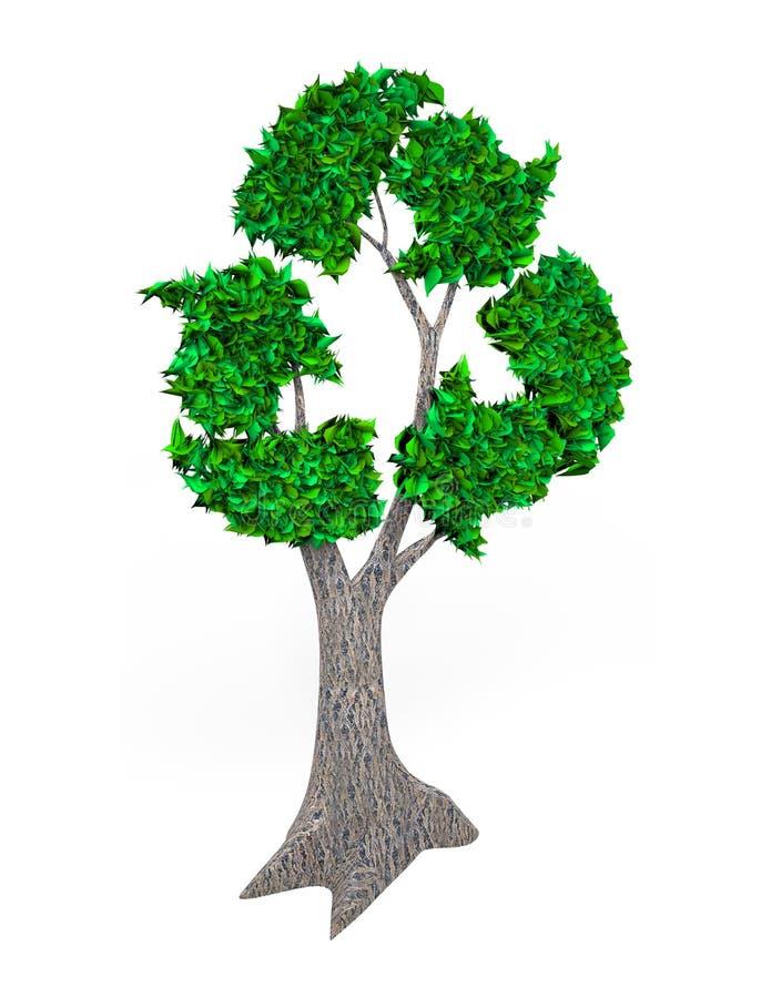 Träd med gröna sidor, i återanvändning av symbolet, illustration 3D stock illustrationer