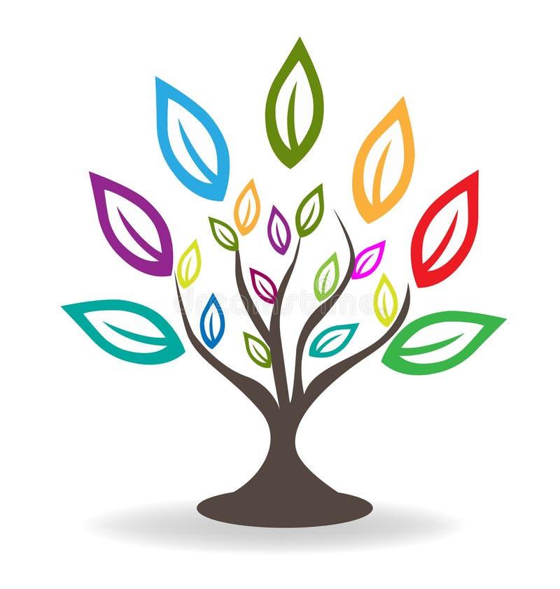 Träd med härlig färgrik bladlogo stock illustrationer