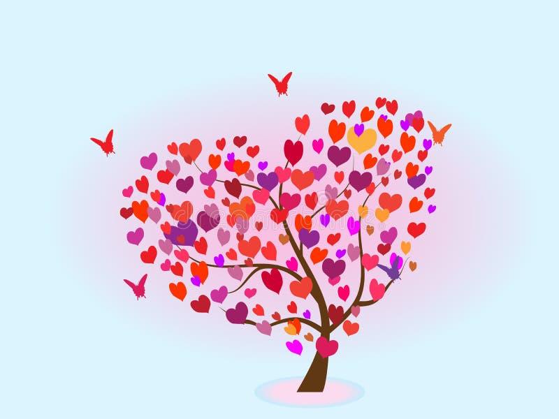 Träd med hjärtor och fjärilar royaltyfri illustrationer