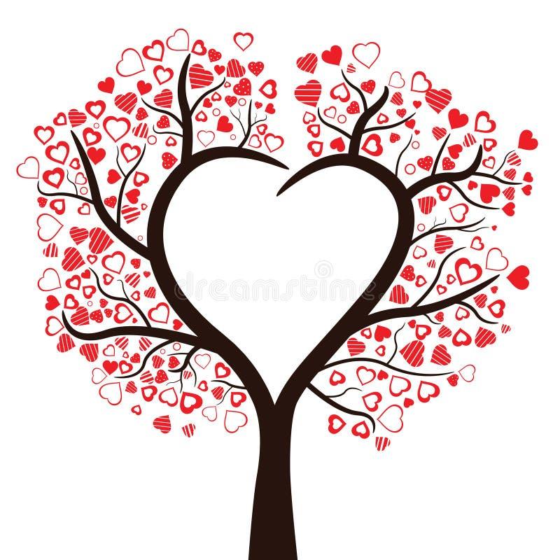 Träd med isolerade hjärtor, stock illustrationer