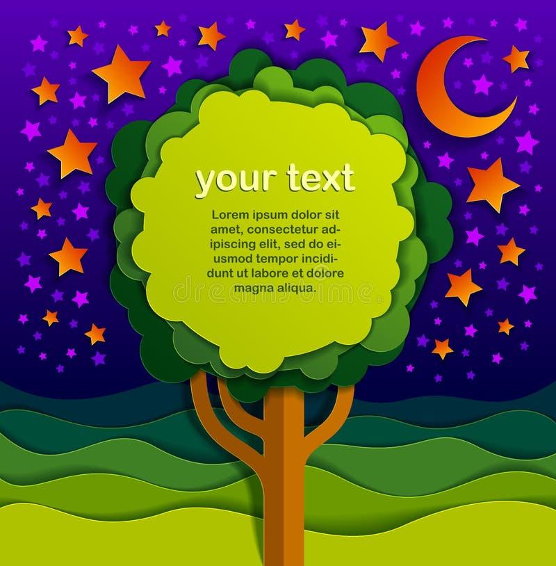 Träd med kopieringsutrymme för text i natten i för naturlandskap för fält vektorn för snitt för papper för stil för scenisk teckn stock illustrationer