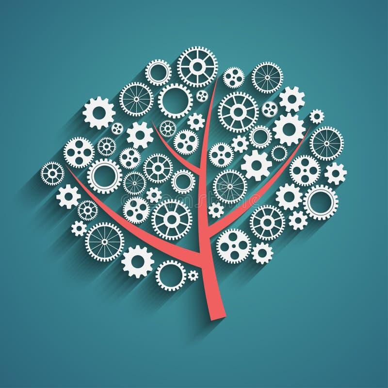 Träd med kugghjul royaltyfri illustrationer