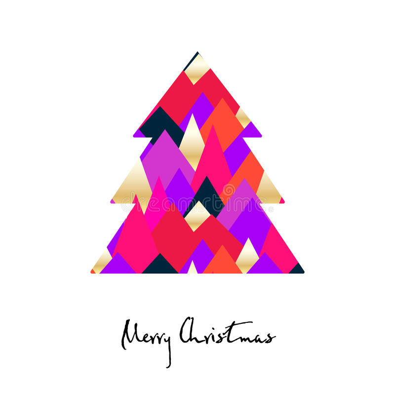 Träd med kulöra trianglar Glad julkort vektor illustrationer