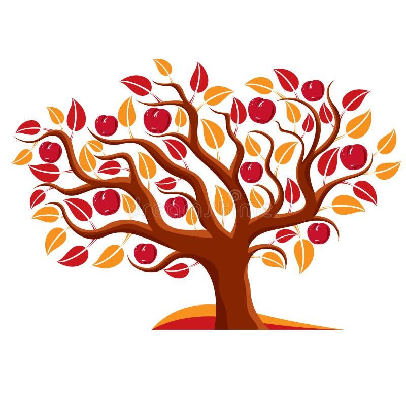 Träd med mogna äpplen, illustration för skördsäsongtema royaltyfri illustrationer