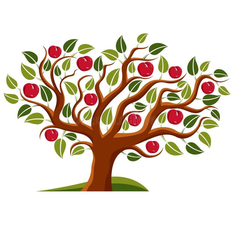 Träd med mogna äpplen, illustration för skördsäsongtema stock illustrationer