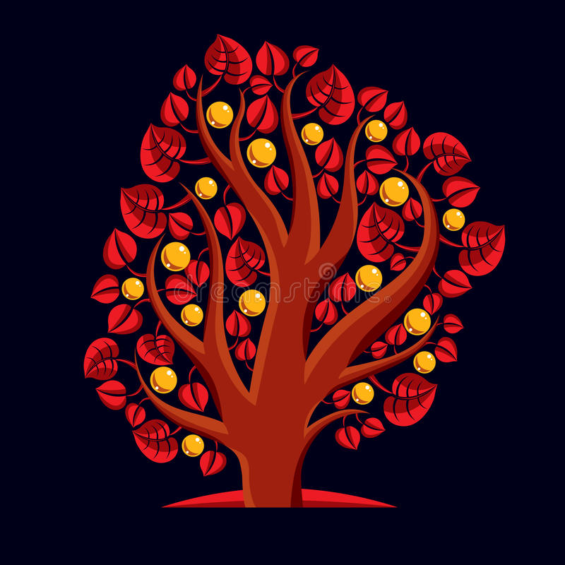 Träd med mogna äpplen, illustration för skördsäsongtema Fruitf royaltyfri illustrationer