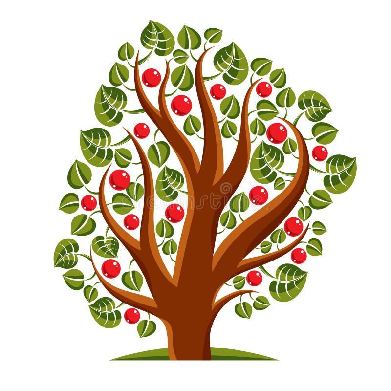 Träd med mogna äpplen, illustration för skördsäsongtema Fruitf stock illustrationer