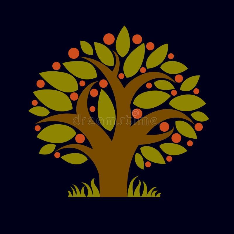 Träd med mogna äpplen, illustration för skördsäsongtema Fruitf vektor illustrationer