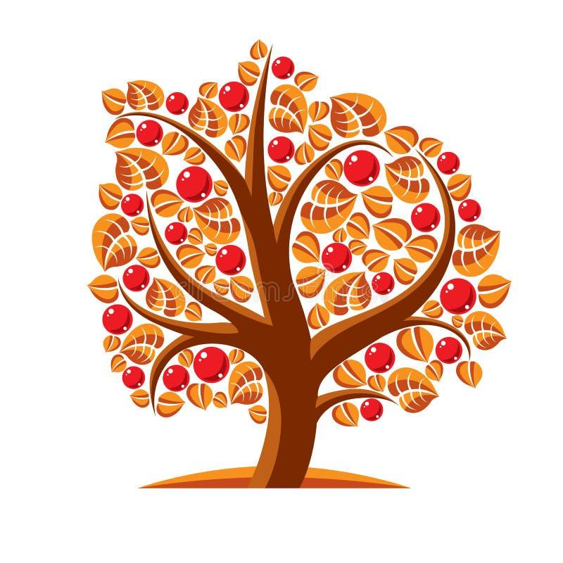 Träd med mogna äpplen, illustration för skördsäsongtema Frukt vektor illustrationer