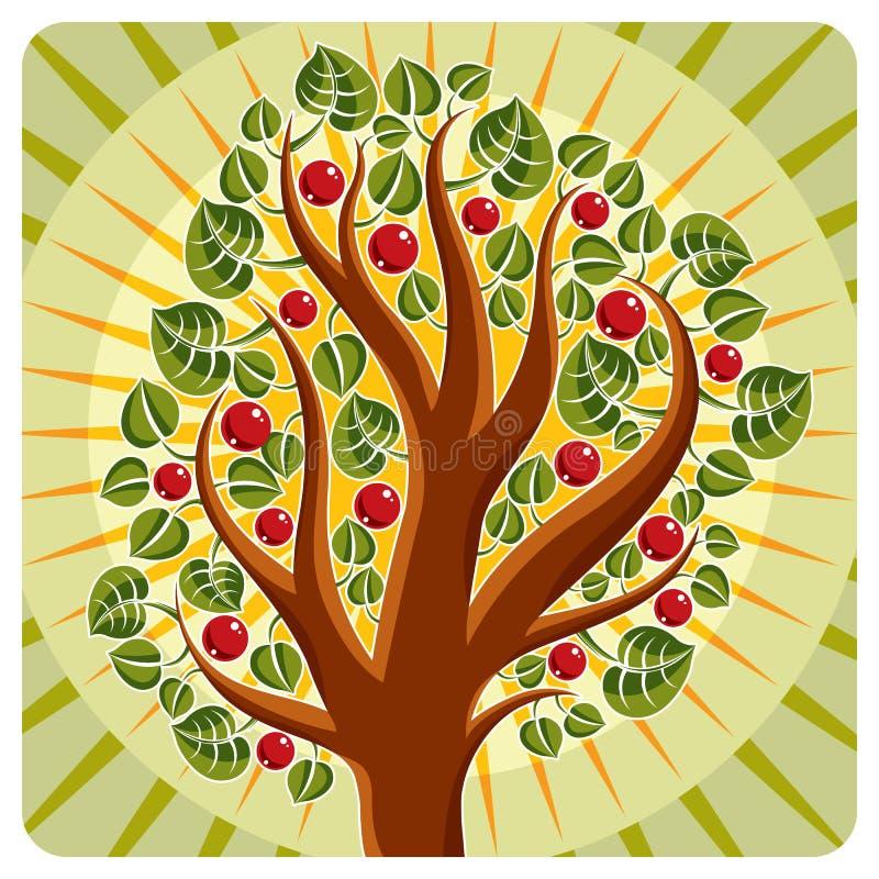 Träd med mogna äpplen som förläggas på stiliserad bakgrund, skörd stock illustrationer
