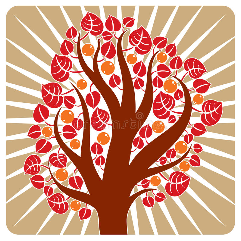 Träd med mogna äpplen som förläggas på stiliserad bakgrund, skörd vektor illustrationer