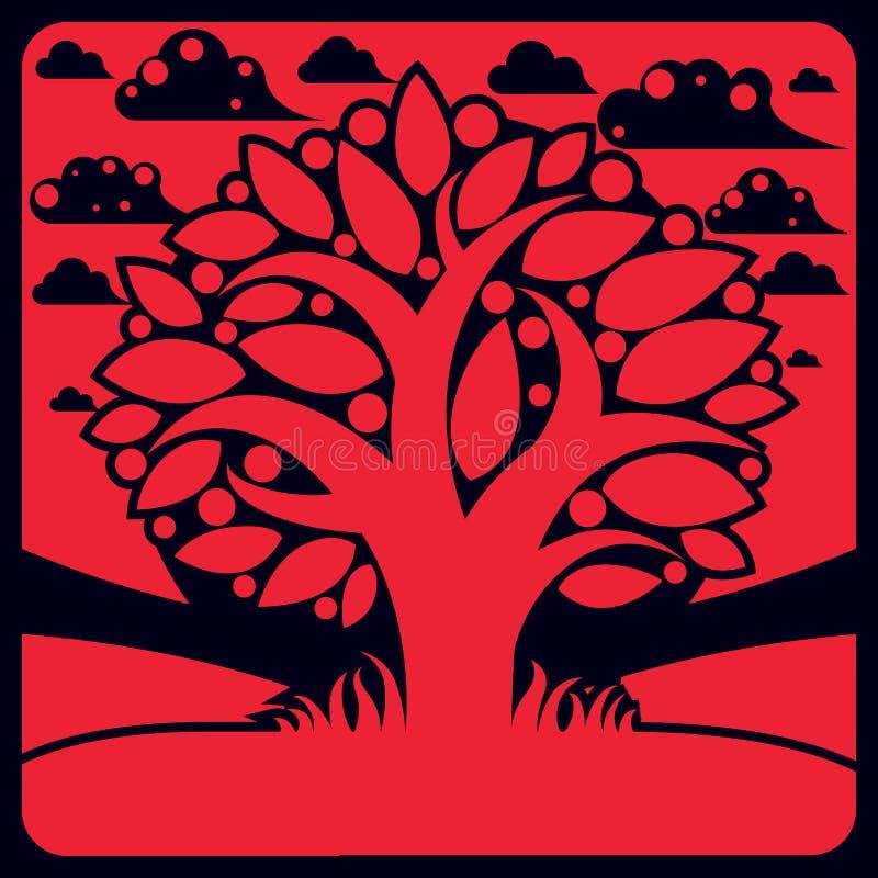 Träd med mogna äpplen som förläggas på stiliserad bakgrund, skördhav stock illustrationer