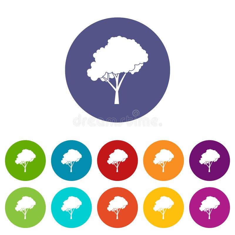 Träd med rundade symboler för en kronauppsättning stock illustrationer