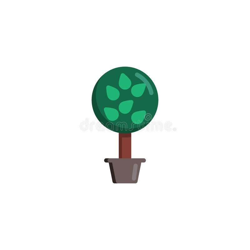Träd med sidor i plan symbol för blomkruka vektor illustrationer