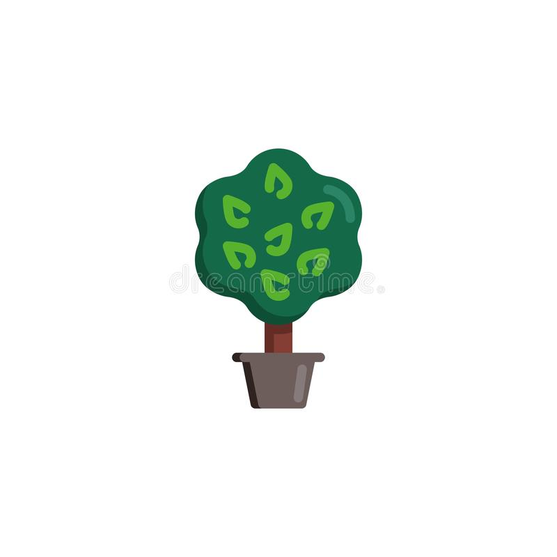 Träd med sidor i plan symbol för blomkruka royaltyfri illustrationer