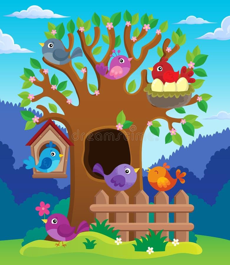 Träd med stiliserad fågeltemabild 2 royaltyfri illustrationer