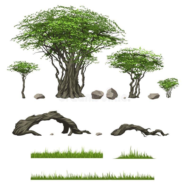 Träd och annat landskapbeståndsdelar stock illustrationer