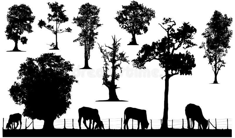 Träd- och boskapkonturuppsättning royaltyfri illustrationer