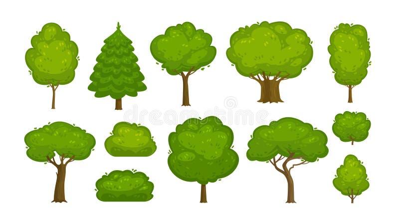 Träd och buskeuppsättning av symboler Skog natur, miljöbegrepp den främmande tecknad filmkatten flyr illustrationtakvektorn vektor illustrationer