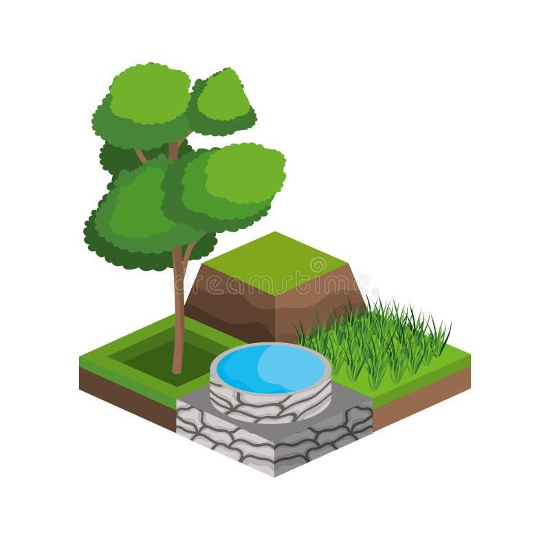 Träd och design för vattenkälla royaltyfri illustrationer