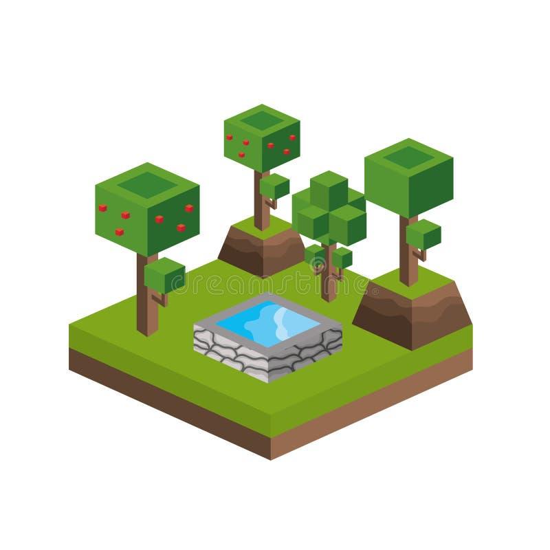 Träd och design för vattenkälla stock illustrationer