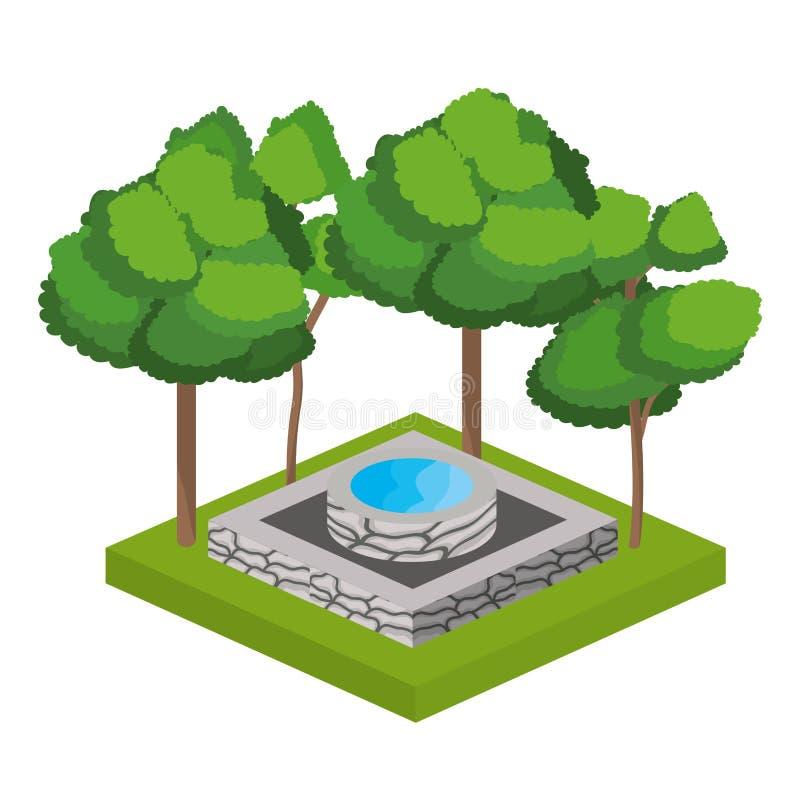 Träd och design för vattenkälla vektor illustrationer