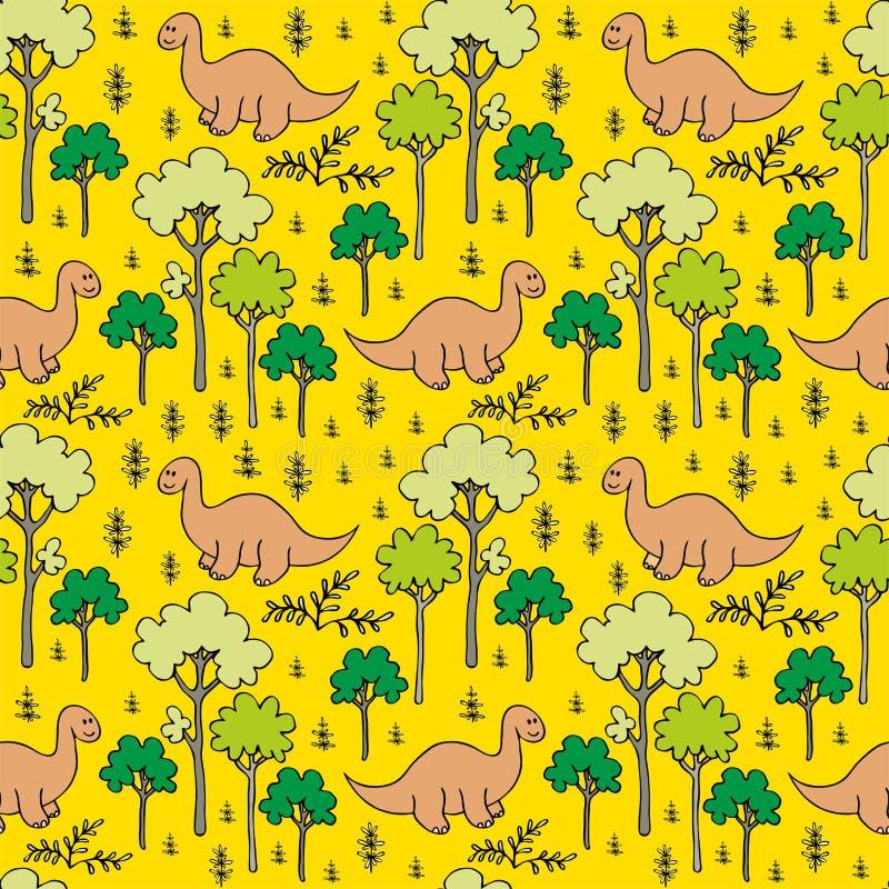 Träd och dinosaurier royaltyfri illustrationer