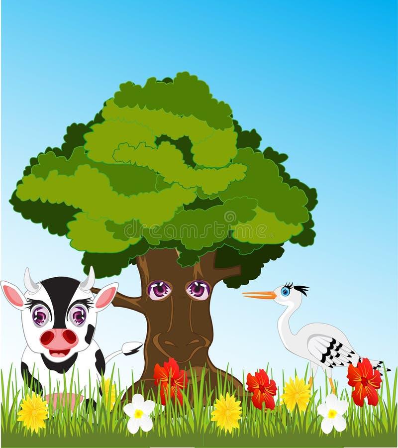 Träd och djur på gläntan vektor illustrationer