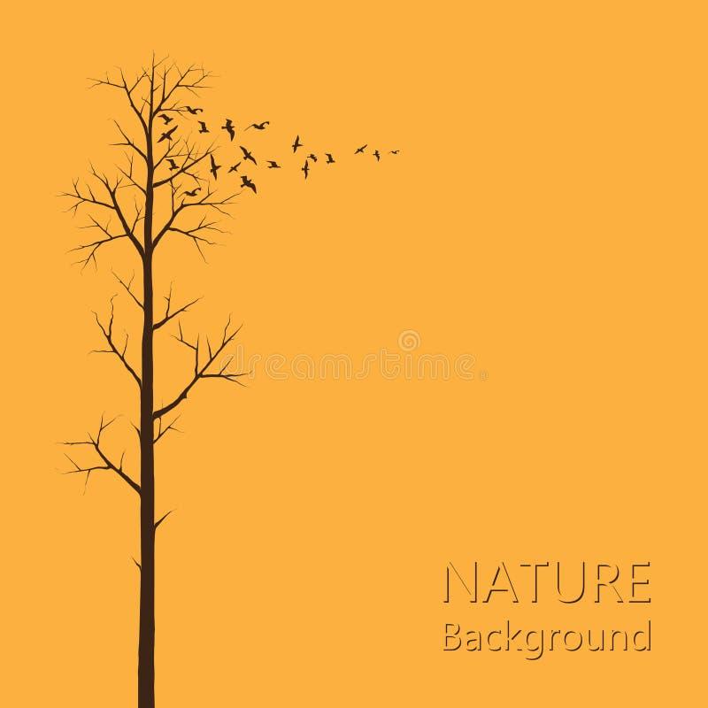 Träd och en flock av fåglar stock illustrationer