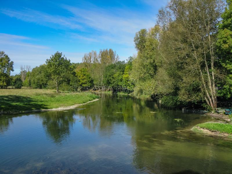 Träd och gräs på kanalen i Loiren arkivfoton